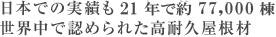 日本での実績も21年で約77,000棟、世界で認められている高耐久屋根材